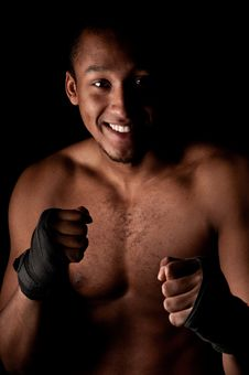 Free Young Fighter Holding Guard Stock Photography - 14420212