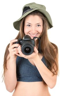 Young Tourist With Camera Royalty Free Stock Photography