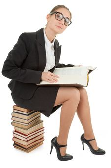 Free Woman And A Pile Of Books Stock Photo - 14421850