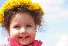 Free Girl And A Wreath Of Dandelions Stock Image - 14422151