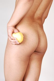 Nude Woman With Apple. Stock Images