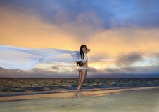 Free Woman On Lanikai Beach At Sunrise Royalty Free Stock Images - 14424149
