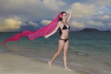 Free Woman On Lanikai Beach At Sunrise Royalty Free Stock Photo - 14424285