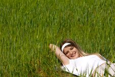 Free Happy Girl Laying In Green Grass Royalty Free Stock Photo - 14424755