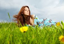 Free Woman On Field In Summer Royalty Free Stock Photo - 14424785