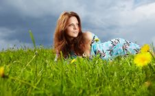 Free Woman On Field In Summer Stock Image - 14424911