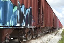 Free Train Rail Cars With Graffiti Stock Image - 14424981