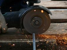 Cutting  Metal  Process Stock Images