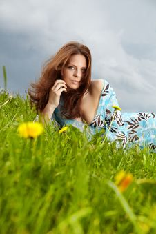 Free Woman On Field In Summer Stock Images - 14426034