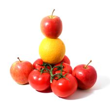 Free Branch Of Tomatos, Red Apples And Orange Royalty Free Stock Photo - 14426095