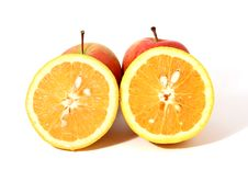 Free Two Pieces Of Orange And Two Red Apples Royalty Free Stock Image - 14426146