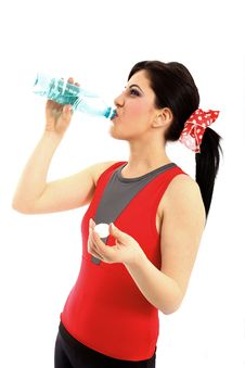 Free Young Woman Drinking Water From Plastic Bottle Royalty Free Stock Photography - 14426177