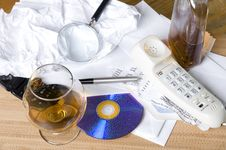 Phone And Whisky Stock Image