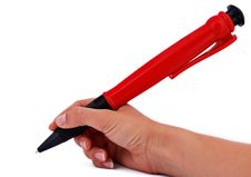 Free Big Pen In Hand Royalty Free Stock Photo - 14427155