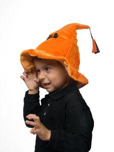 Free Boy Scares Somebody On Halloween Stock Photos - 14427463