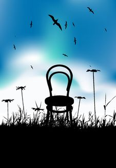 Free Chair On Meadow Summer, Black Silhouette Royalty Free Stock Image - 14429406