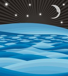 Sea And Moon Night Summer Stock Images