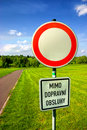 Free Do Not Enter Sign At The Border Of Park Royalty Free Stock Photography - 14439057