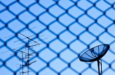 Wire Fence With Satellite Royalty Free Stock Image