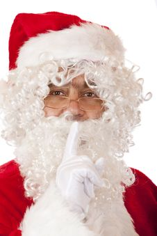 Free Happy Santa Claus Puts Finger On Lips For Silence Stock Photos - 14430823