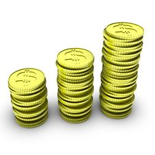 Free Stack Of 3d Dollar Coins Royalty Free Stock Photo - 14431205