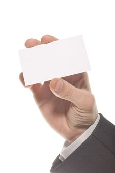 Hand Holding An Empty Business Card Royalty Free Stock Photography