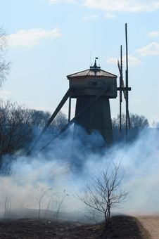 Free Windmill In Smoke Royalty Free Stock Image - 14431536