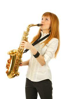 Free Girl With A Sax Stock Photos - 14431793
