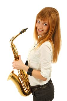 Free Smiling Girl With A Sax Stock Image - 14431841
