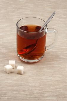 Free Cup Of Tea With Spoon And Sugar Royalty Free Stock Photo - 14432115