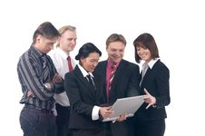 A Business Team Of Three Men And Two Young Woman Royalty Free Stock Photography