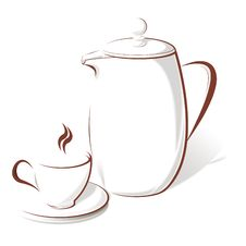 Free Coffee Cup And Teapot Royalty Free Stock Photos - 14432648