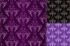 Free Set Of Ornate Violet And Black Seamlesses Royalty Free Stock Photos - 14433728