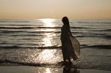 Free Woman On The Beach Stock Image - 14435081