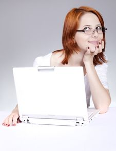 Free Red-haired Girl With White Notebook Stock Image - 14435121