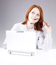 Free Red-haired Girl With White Notebook Royalty Free Stock Image - 14435176