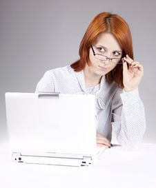 Free Red-haired Girl With White Notebook Royalty Free Stock Photography - 14435197