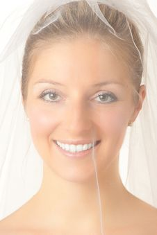 Young Woman In Wedding Dress Stock Photo