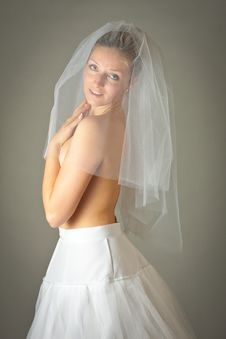 Young Woman In Wedding Dress Royalty Free Stock Photography