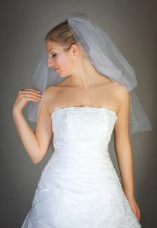 Young Woman In Wedding Dress Royalty Free Stock Photos