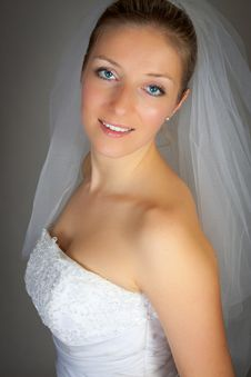 Young Woman In Wedding Dress Stock Image
