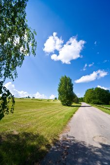 Free Sky With Clouds And The Green Field Stock Images - 14435714