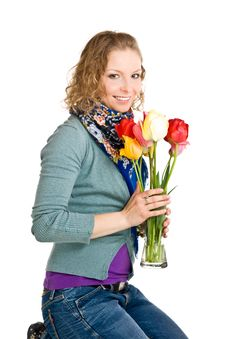 Free Young Girl With Tulips Royalty Free Stock Images - 14435809