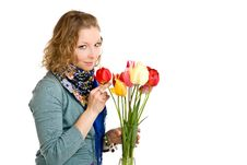 Free Young Girl With Tulips Stock Image - 14435811
