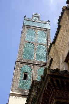 Minaret Tower With Turquoise Tiles Ornament Stock Image