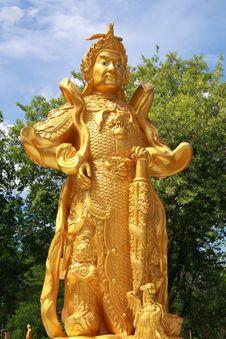 Chinese Warrior Golden Statue Stock Photo