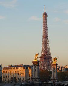 Eiffel Tower At Dawn, Paris, France Royalty Free Stock Image