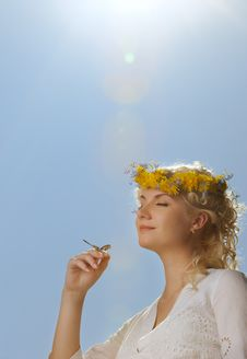 Free Woman With A Butterfly Over Blue Sky Royalty Free Stock Photos - 14438238