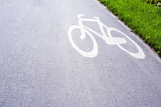 Free Bike Path In City With Sign Stock Photos - 14438403