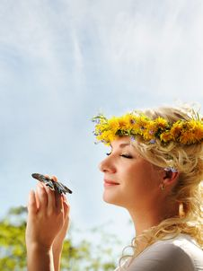 Free Woman With A Butterfly Over Blue Sky Royalty Free Stock Image - 14438506